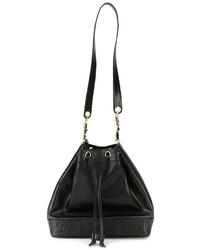 Chanel Vintage Embossed Logo Bucket Shoulder Bag