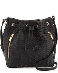 Neiman Marcus Woven Faux Leather Bucket Bag Black