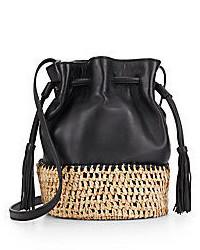 Loeffler Randall Woven Straw Leather Mini Bucket Bag