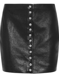 Black Leather Button Skirt