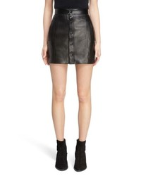 Saint Laurent Button Front Leather Skirt