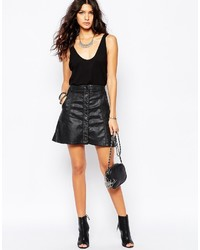 Leather look mini skirt with button front utility pockets medium 373688