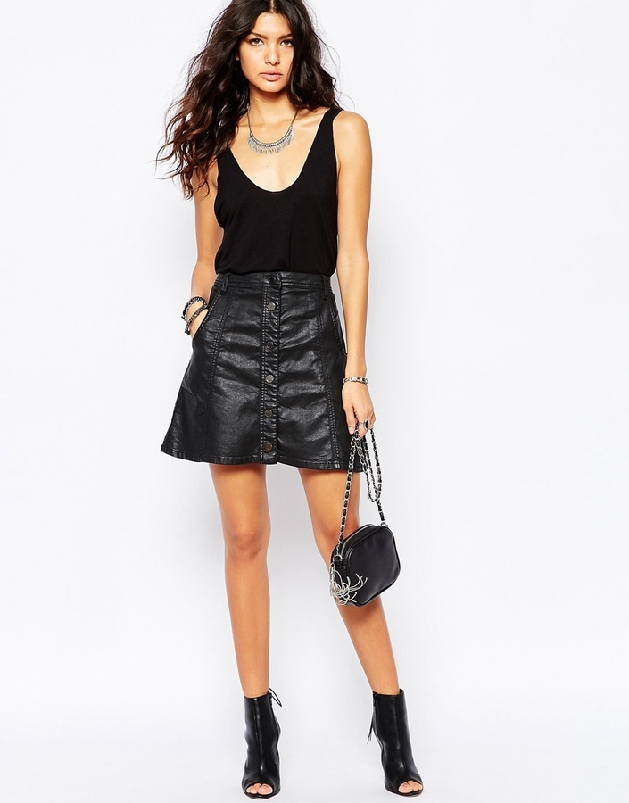 Blank NYC Leather Look Mini Skirt With Button Front Utility ...