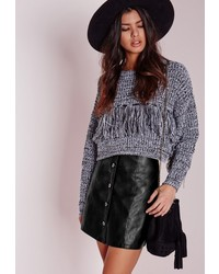 Missguided Button Faux Leather Mini Skirt Black