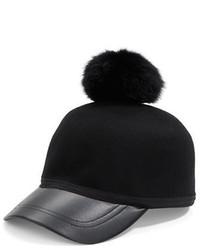 Collection 18 Rabbit Fur Pompom Wool Baseball Hat