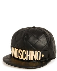 Moschino Quilted Leather Baseball Cap Black