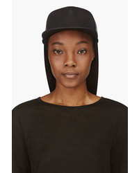 Rick Owens Drkshdw Black Leather Canvas Snap Back Baseball Cap
