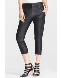 Alice + Olivia Anders Leather Front Crop Pant