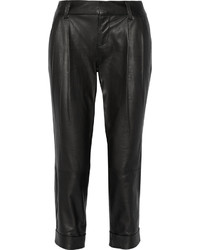 Alice + Olivia Arthur Cropped Leather Pants