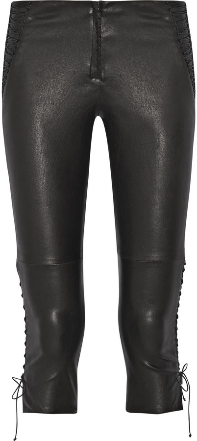 Isabel Marant Cleavon Lace Up Stretch Leather Skinny Pants
