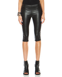 Alexander McQueen Cropped Leather Trouser In Black