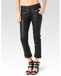 Paige Jimmy Jimmy Crop Black Leather