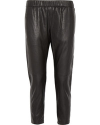 Theory Korene Cropped Leather Slim Leg Pants
