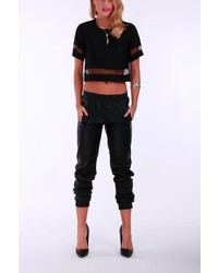 Madison Square Clothing Black Eliza Crop