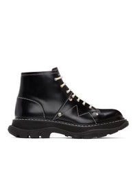 Alexander McQueen Black Contrast Stitch Tread Lace Up Boots