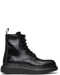 Alexander McQueen Black Croc Lace Up Boots
