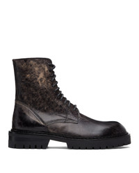 Ann Demeulemeester Black Distressed Tucson Lace Up Boots