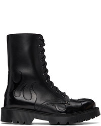 Vetements Black Flame Lace Up Military Boots