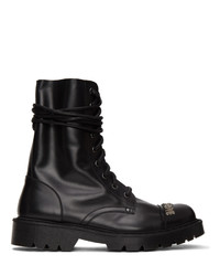 Vetements Black Gothic Logo Combat Boots