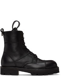 Dolce & Gabbana Black Hardware Lace Up Boots