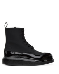 Alexander McQueen Black Hybrid Lace Up Boots