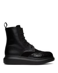 Alexander McQueen Black Hybrid Panelled Boots