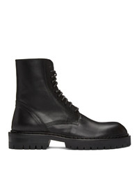 Ann Demeulemeester Black Lace Up Combat Boots