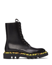 Givenchy Black Leather Camo Combat Lace Up Boots