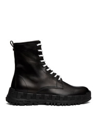 Versace Black Leather Combat Boots