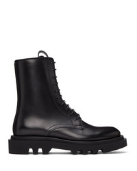 Givenchy Black Leather Combat Lace Up Boots