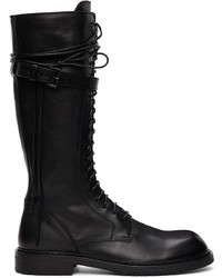 Ann Demeulemeester Black Leather Knee High Boots
