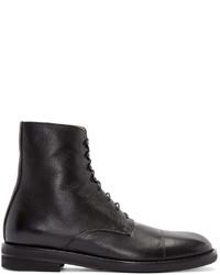 Maison Margiela Black Leather Lace Up Boots