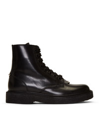Neil Barrett Black Leather Pierced Punk Boots
