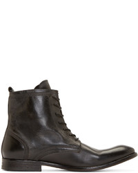 H By Hudson Black Leather Swathmore Boots