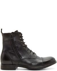 Diesel Black Leather Zd Kallien Boots