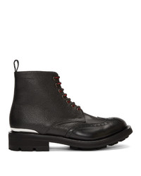 Alexander McQueen Black Pebble Ed Lace Up Boots