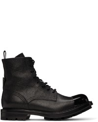 Alexander McQueen Black Pebbled Lace Up Boots