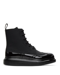 Alexander McQueen Black Perforated Hybrid Lace Up Boots