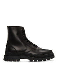 Neil Barrett Black Pierced Punk Lace Up Boots