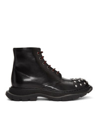 Alexander McQueen Black Tread Lace Boots