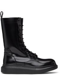 Alexander McQueen Black Worker Combat Boots