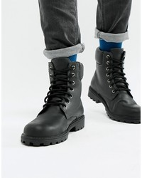 Pier One Chunky Lace Up Boots In Black Leather