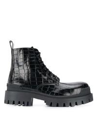Balenciaga Crocodile Effect Biker Boots