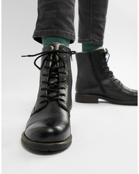 Pier One Fleece Lined Toe Cap Lace Up Boots In Black