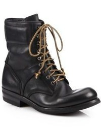 Ralph Lauren Gavin Distressed Leather Lace Up Boots