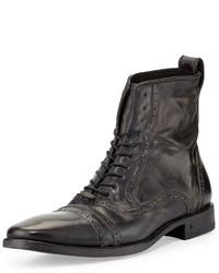 John Varvatos Brogue Leather Lace Up Boot Black