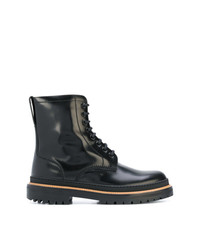 Burberry Lace Up Polished Leather Boots