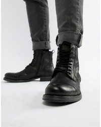 Jack & Jones Leather Boot With Side Zip