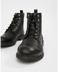 Selected Homme Leather Lace Up Boot With Toe Cap
