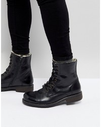 Pier One Leather Warm Lining Boots In Black